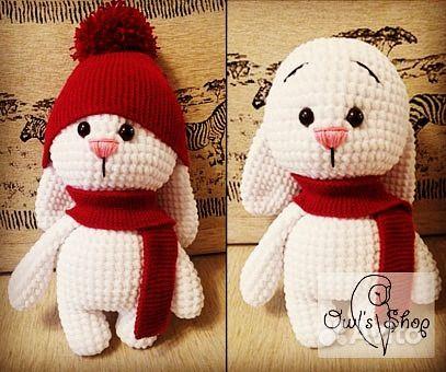 вязаная игрушка заяц в шапке ручная работа Festimaru