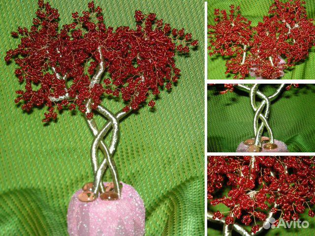Рубиновое дерево из бисера ручная