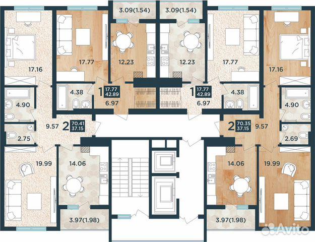2-к квартира, 72 м², 6/13 эт. 89814708057 купить 3