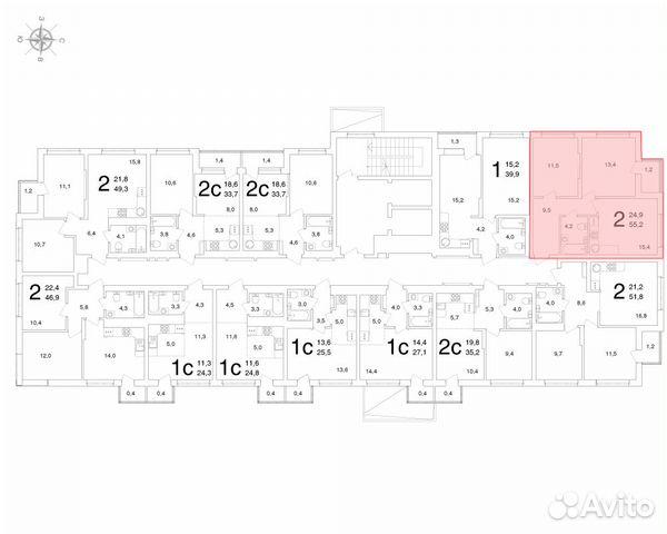 2-к квартира, 55.2 м², 2/25 эт.  купить 3