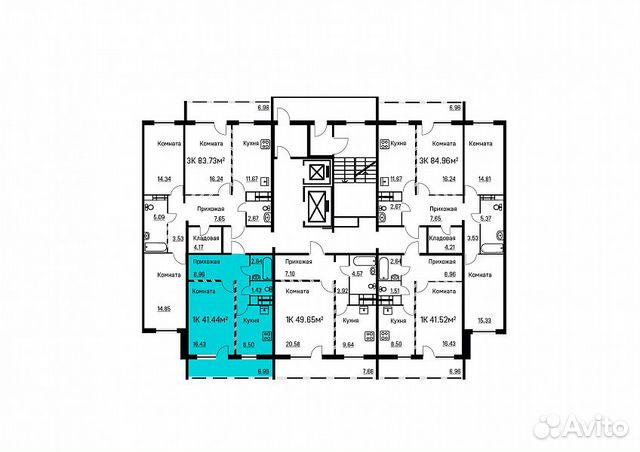 1-room apartment, 42 m2, 16/17 FL.  89024722013 buy 5