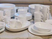 Большой набор столовой посуды, французское стекло