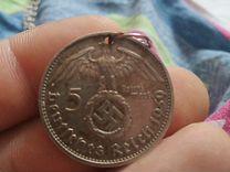 Монета серебряная на серебрчной цепочке