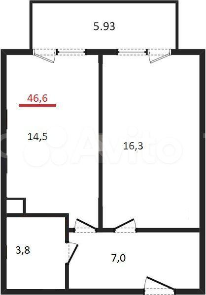 1-к квартира, 46.6 м², 2/4 эт.  89217122121 купить 1